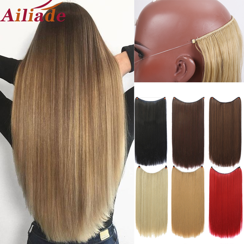 AILIADE Natural Silky Long Straight Heat Resistant Synthetic Secret Fish Line Invisible Hair Extensions For Women Hairpiece