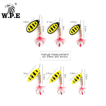 W.P.E New Spinner Lure Hard Bait 1pcs 6.5g/10g/13.5g Spoon Lure Metal Lure Feather Treble Hook Fishing Tackle Bass Fishing Pesca ftk fishing lure spinner bait lures 1pcs 8g 13g 19g metal bass hard bait with feather treble hooks wobblers pike tackle