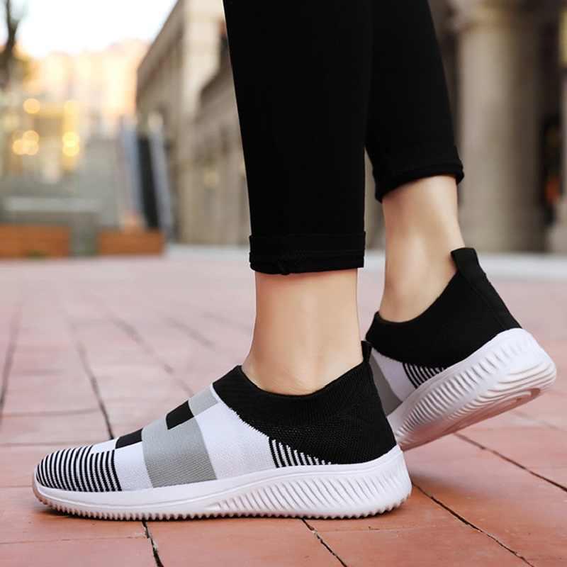 ผู้หญิงสบายๆถัก Loafers นุ่มถุงเท้า Vulcanized รองเท้าผู้หญิงหญิงยืดแบน SLIP ON LADIES Walking PLUS ขนาด