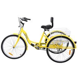 (Отправка из ru) Shimano 7-Скорость для взрослых 26 3-трицикл трехколесный грузовой погрузчик трёхколёсный велосипед круиз белый черного, желтого ...