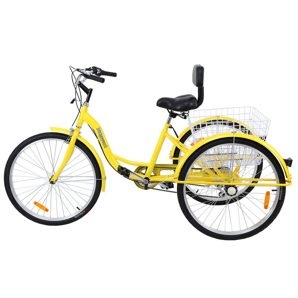 """Shimano 7-Speed Adult 24/"""" 3-Wheel Tricycle Trike Bicycle Bike Cruise With Basket"""