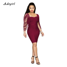 Tassel Sleeve Bodycon Mini Dress Women Elegant Strapless Skinny Party Dresses Sexy Slim Evening Club Vestidos