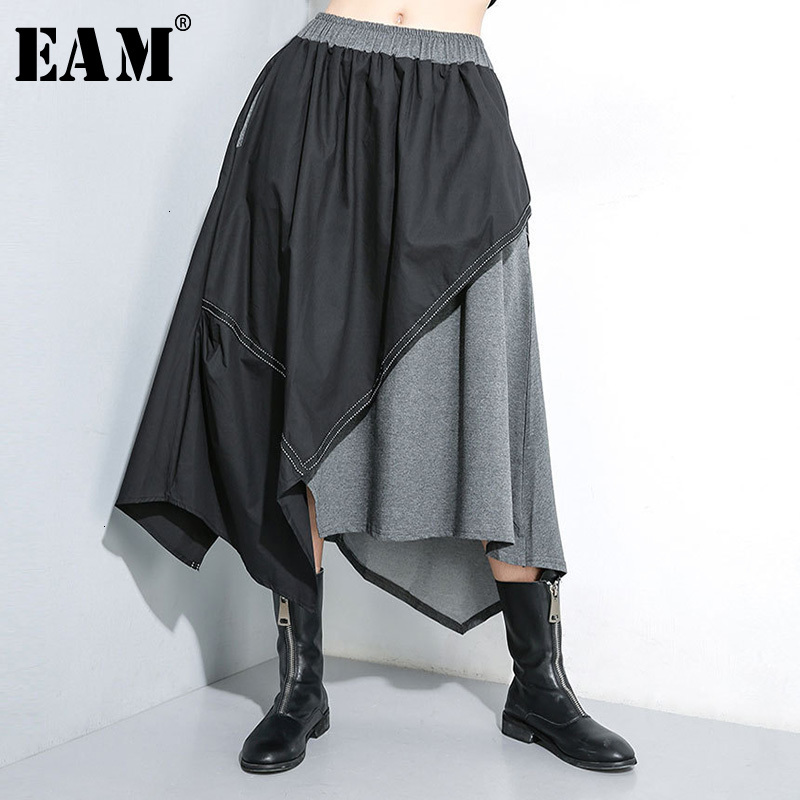 [EAM] High Elastic Waist Contrast Colot Split Asymmetrical Half-body Skirt Women Fashion Tide New Spring Autumn 2020 1H135