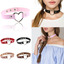 Punk Torques Rivet Heart Necklace Collares Gothic Jewelry Heart-shaped Club Chokers PU Leather colar 40