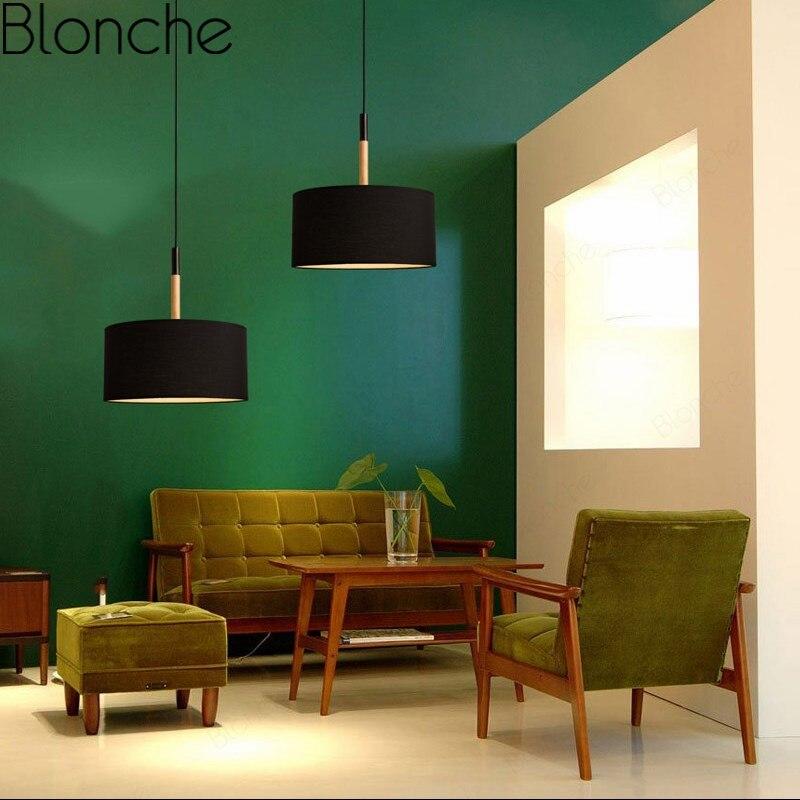Tkaniny wisiorek światła drewniane lampy wiszące dla jadalnia sypialnia Bar Art oświetlenie dekoracyjne lampy nowoczesne Led oprawa wisząca