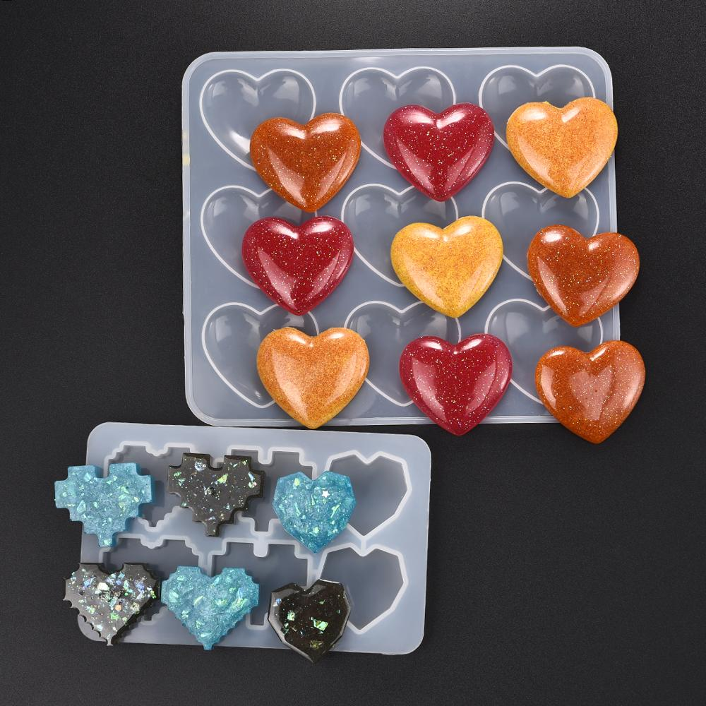Pixel Heart Shape Silicone Mold UV Epoxy Resin Jewelry Making Moulds DIY Jewelry Pendants Resin Mold Jewelry Making Tools