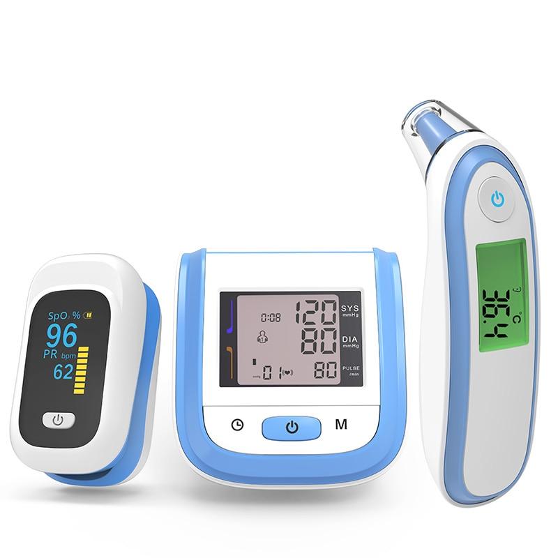 Pulse Oximeter Blood Oxygen Monitor Infrared Thermometer Wrist Blood Pressure Monitor PR Sphygmomanometer Oximetro De Dedo