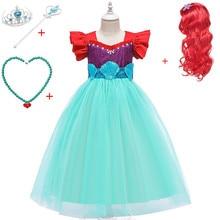 Girls Little Mermaid Ariel Princess Dress Halloween Cosplay Costumes For Kids Summer Girl Dresses for Birthday Party Mermaid