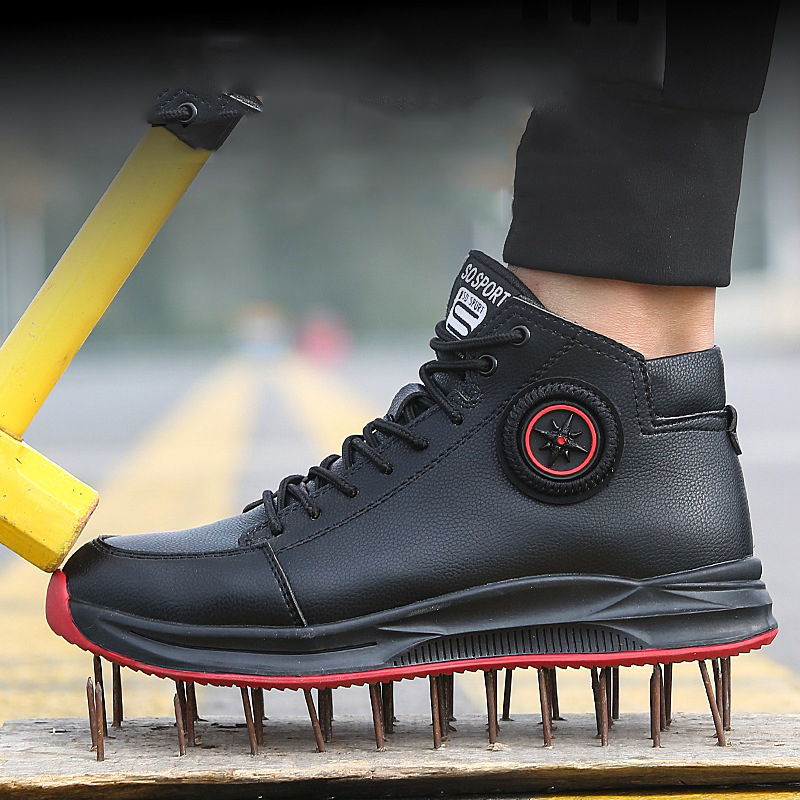 New 36-47 Lightweight Safety Shoes Men Steel Toe Anti-crush Anti-piercing Breathable Wear-resistance Work Shoes Excellent Grip