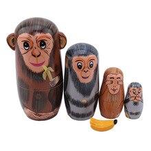 1Set Cartoon Affe Essen Banana Muster Matryoshka Puppe Holz Hand bemalt Russian Nesting Dolls Urlaub Geburtstag Geschenke für kinder