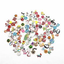 Mix 50pcs/lot crystal Charms ceram heart Floating for Memory charms Lockets DIY Jewelry