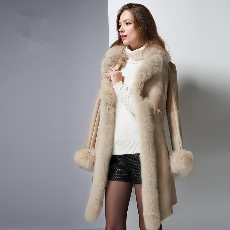 Faced Double Fur Coat Female Natural Sheep Shearling Fur Winter Jacket Women Fox Fur Collar Genuine Leather Jacket MY