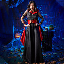 Women Halloween Party Dress Cosplay Queen Witch Vintage Gothic Long Black Temperament Goddess Vampire Costumes
