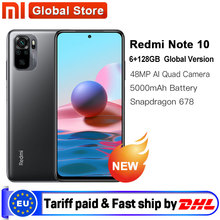 Versão global xiaomi redmi nota 10 6gb 128gb smartphone snapdragon 678 33w amoled display 48mp quad câmera 5000mah bateria