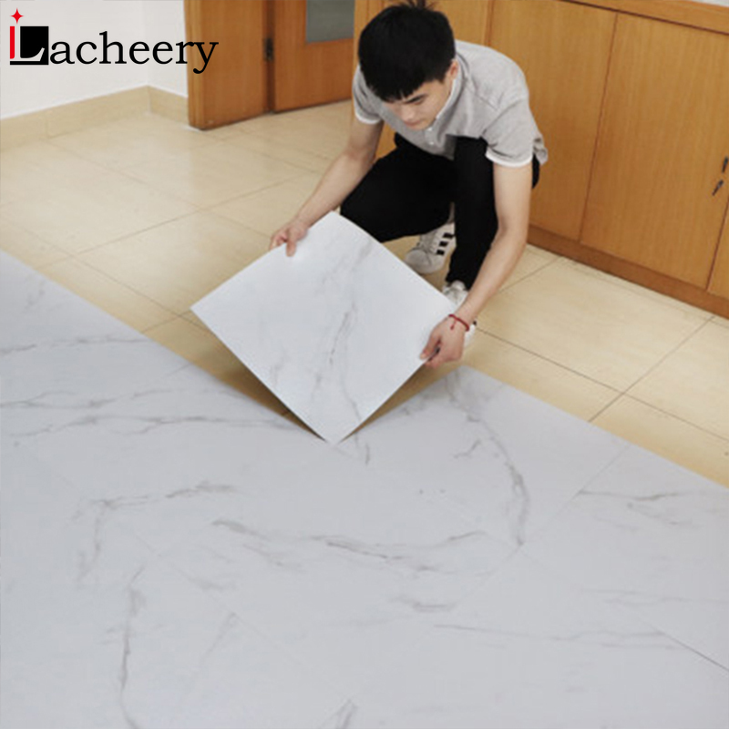 Modern Thick Self Adhesive Tiles Floor Stickers Marble Bathroom Ground Wallpapers PVC Bedroom Furniture Wall Sticker Room Decor