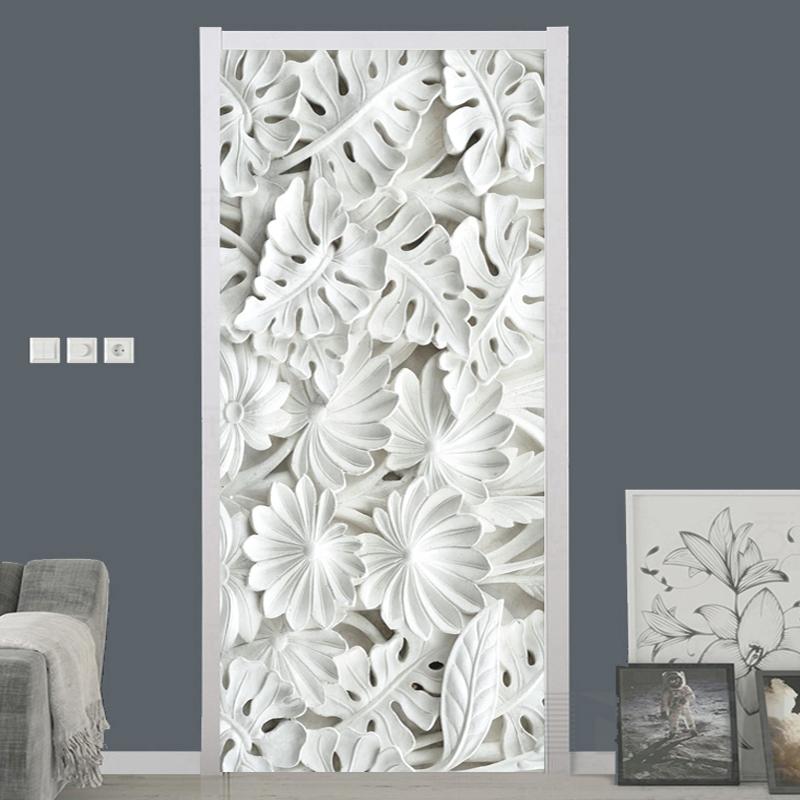 Self-Adhesive Door Sticker 3D Stereo White Leaf Gypsum Pattern Wallpapers Living Room Bedroom Home Decor PVC Waterproof Stickers