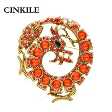 CINKILE New Fashion Dragão Broches Para As Mulheres E Homens Unisex Cor Vermelha Animal Pinos Broche de Cristal Grande Jóia Do Presente Do Vintage(China)