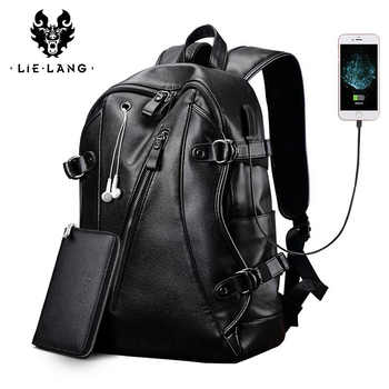 LIELANG Men women Backpack External USB Charge Waterproof Backpack PU Leather Travel Bag Casual School Bag new student bookbag - DISCOUNT ITEM  49 OFF Luggage & Bags