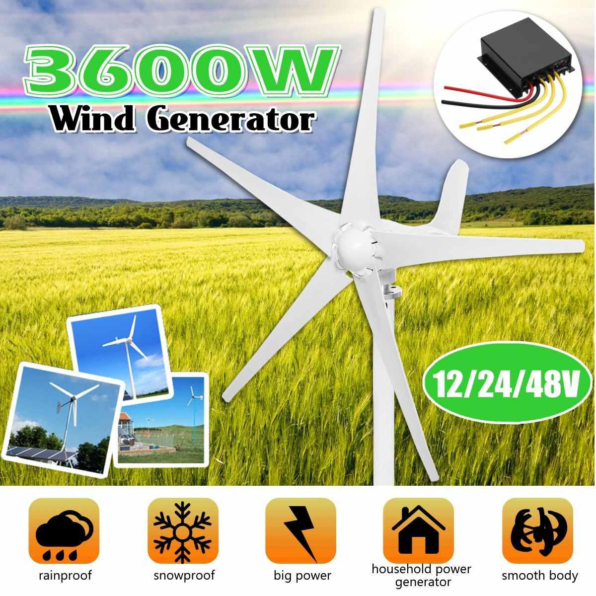 3600W 12/24/48V vent Horizontal T urbine générateur 5-lames AC générateur d'énergie permanente w/contrôleur pour la lumière solaire