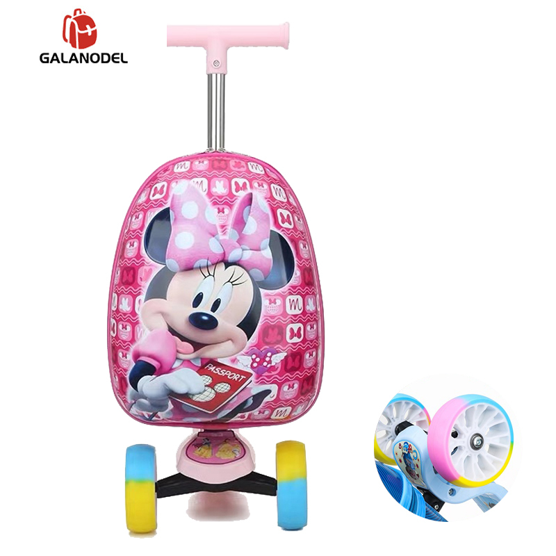Kid's Luggage Scooter Suitcase Cartoon Travel Carry On Suitcase With Wheels Child Cute Small Trolley Case Rolling Luggage 16''