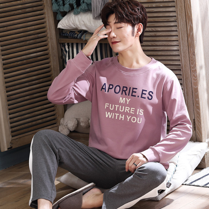 Spring And Autumn 6535 Cotton Pajamas Men's Long Sleeve Thin Home Wear-Outer Wear Men's Young And Middle-aged Set Japanese Korea