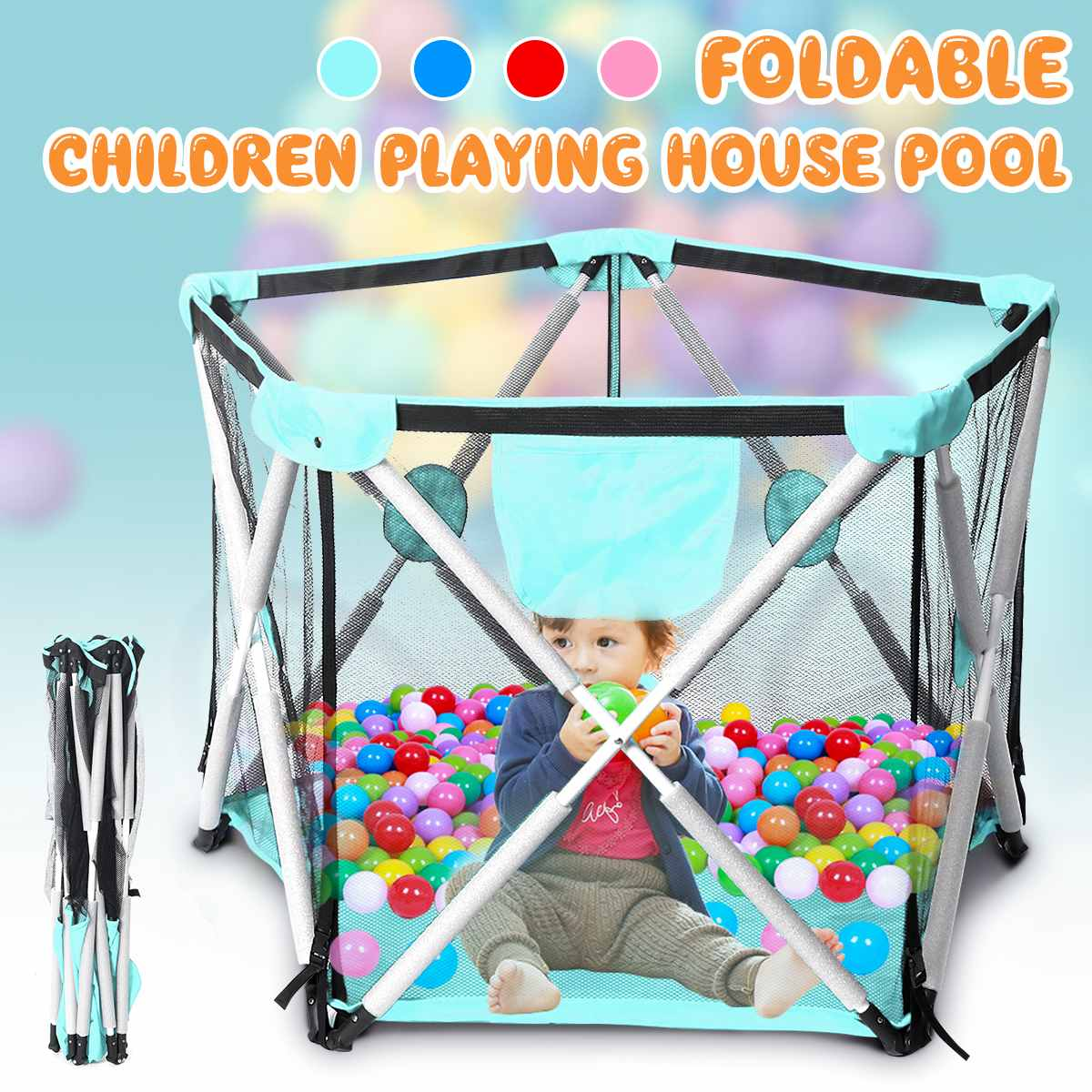 Folding Children Playing House Baby Playpen Portable Outdoor Indoor Toddler Game Newborn Baby Pool Fence 115x78cm 4 Colors