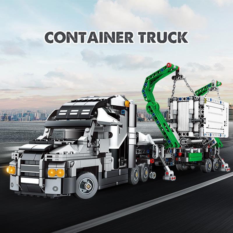 1202pcs City Big Truck Engineering Buiding Blocks Legoing Technic Mark Container Vehicles Car Figures Bricks Toys For Children 2