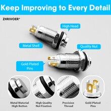 10pcs 8mm With LED indicator Self-reset Momentary Self-locking Latching Metal Push Button Switch 4pins high head 3v5v12v24v220v
