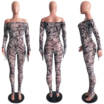 Adogirl Money Dollar Print Sheer Mesh Jumpsuit Mulheres Sexy Fora do ombro Manga comprida de flare Skinny Romper Night Club Outfit geral 1