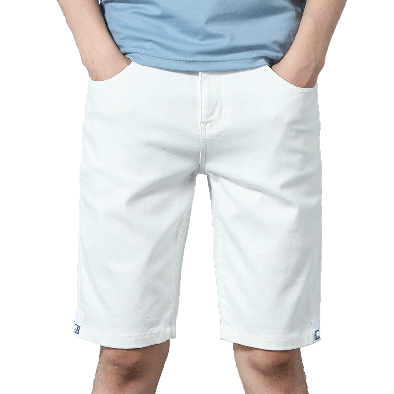 2020 summer new Plain white short jeans men classic style fashion elastic force Skinny denim shorts male Brand clothes