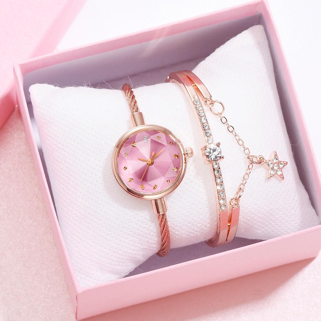 2PCS /Set Small Rose Bangle Bracelet Luxury Watches Stainless Steel Retro Ladies Quartz Clock Fashion Casual Women Dress Watch