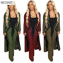 Vertical Striped Print Two Piece Set Maxi Cardigan Wide Leg Long Pants Set Clothing Women Sexy Casual Long Cloak Outfits Sashes vertical striped patchwork expansion maxi dress