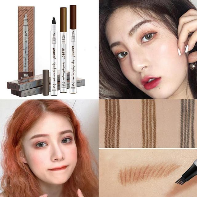 HOT Sale 1Pcs Women Makeup Sketch Liquid Eyebrow Pencil Waterproof Brown Eye Brow Tattoo Dye Tint Pen Liner Long Lasting Eyebrow 4
