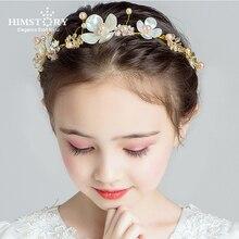 HIMSTORY Girls Vintage Gold Leaves Handmade 3D-Flowers Headband Hairband Wedding Prom Bridalmaid Kids Headdress Accessories