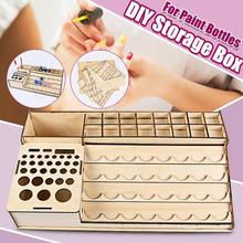 DIY drewniane butelki pigmentu szuflada schowek organizator otwory kolor farby atramentu stojak na szczotki stojak modułowy uchwyt tanie tanio 477601 Rysunek Regałów Magazynowych BAMBOO