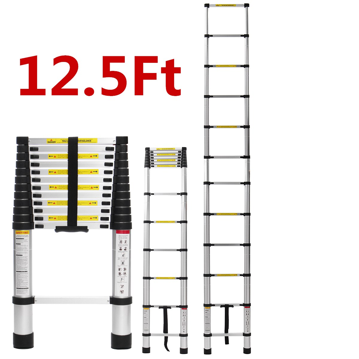 3.8m 12.5Ft Multifunctional Ladder Telescopic Alloy Aluminium Retractable Single Extension Ladder Foldable Drywall Tools Home