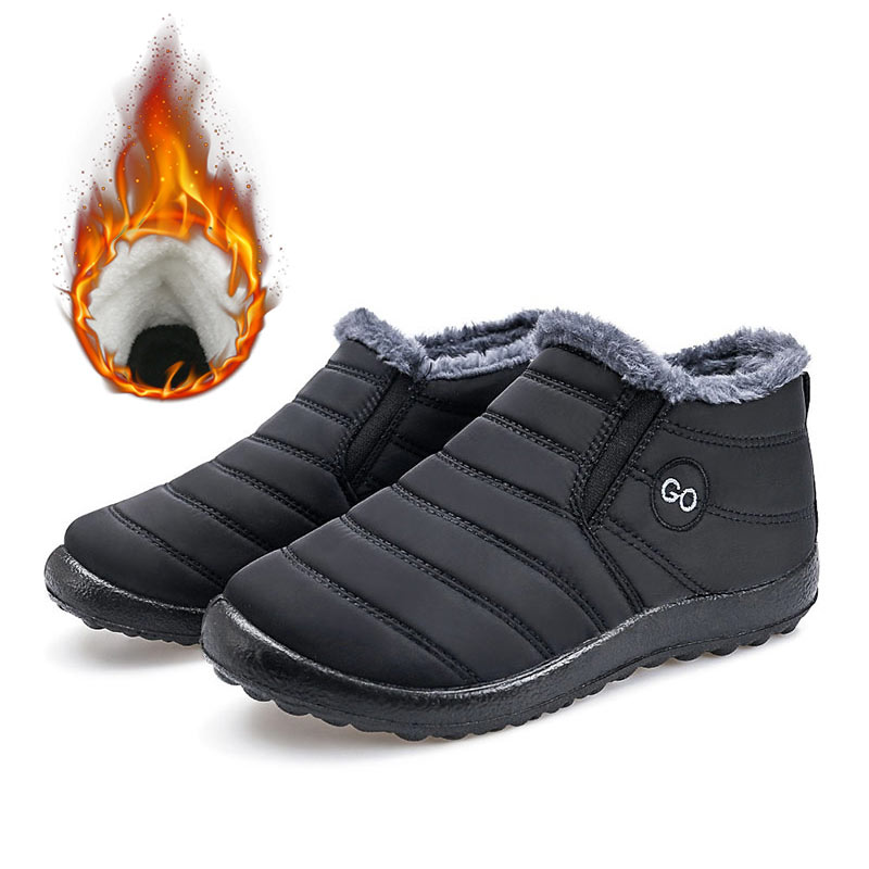 Men Boots 2019 New Warm Plush Inside Waterproof Snow Boots Men Shoes Solid Winter Shoes Men Winter Boots Men Zapatos De Hombre