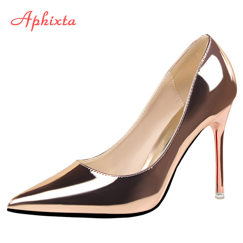 Aphixta 10cm Heels Women Pumps Shoes Pointed Toe Bling Gold Patent Leather Sexy Wedding Party Official Shoes Woman Big Size 48