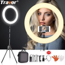 TRAVOR ring light 18 inch 240 PCS LED ring lamp photo studio lighting Dimmable 5500K with tripod for YouTube makeup ringlight capsaver 2 in 1 kit led video light studio photo led panel photographic lighting with tripod bag battery 600 led 5500k cri 95