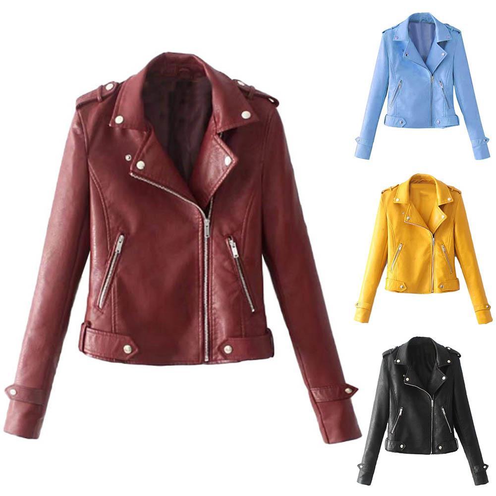 Autumn Women Black Slim Cool Lady PU Leather Jackets Sweet Female Zipper Faux Femme Outwear Coat Plus Size Short Jacket Clothing