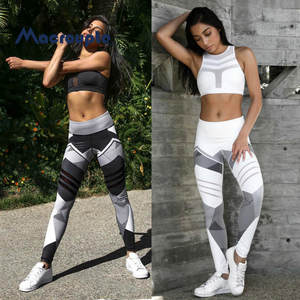 Leggings Slim-Trousers Sports-Pants Geometric Fitness Printed S-XXXL Women for Quick-Dry