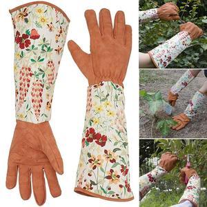 Женские нескользящие перчатки для уборки дома, дышащие перчатки для садоводства, женские нейлоновые перчатки из искусственной кожи с цвето...