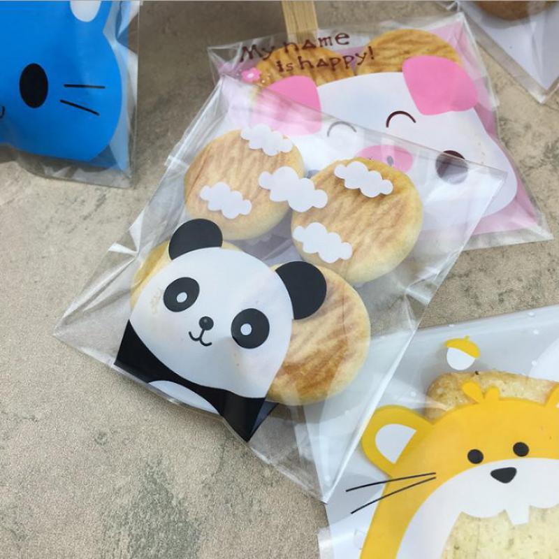 25 Pcs Panda Transparent Bag Cookie Bag Self Adhesive Bags Thank You Bag Candy Box Creative Wedding  Goody Bags
