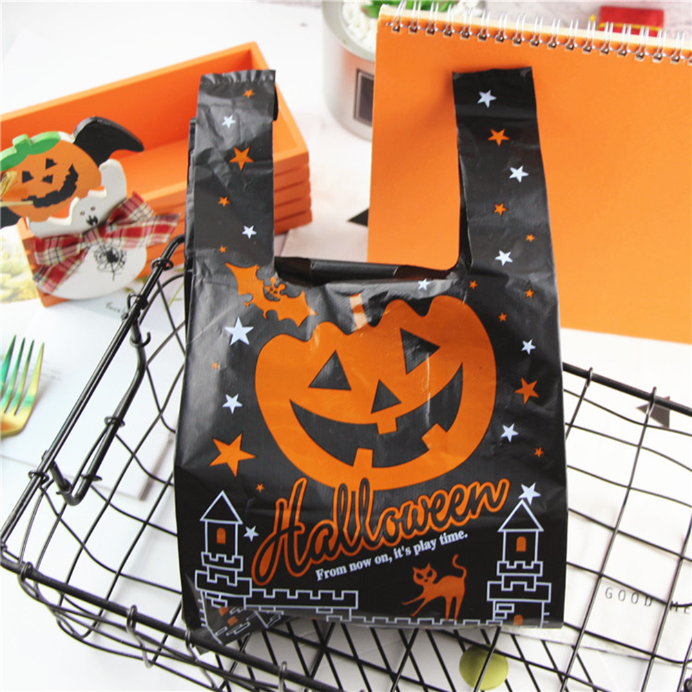 50Pcs Halloween Pumpkin Pattern Plastic Bag Halloween Vest Bag Shopping Tote Gift Bag With Handle For Kid Halloween Party Favors