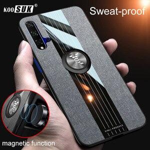 Чехол Koousk для Huawei Honor 20 Lite Honor 20 Pro 20S, задняя крышка, держатель для пальцев, тканевый жесткий ударопрочный чехол для телефона