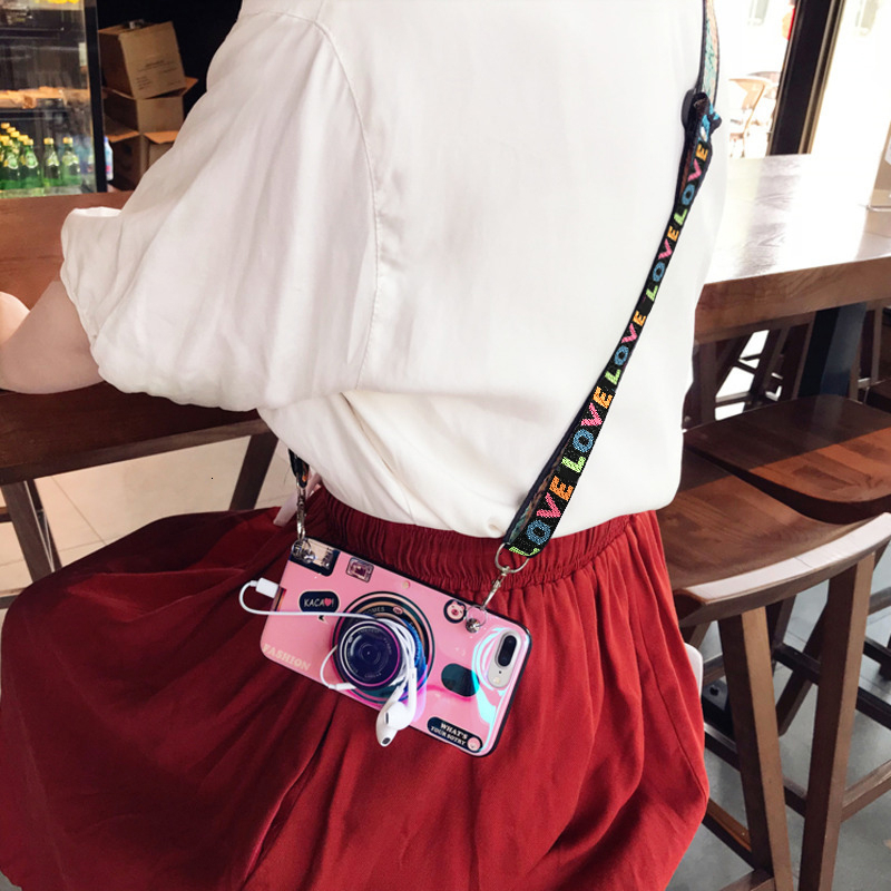 Fashion 3D Retro Camera lanyard Standing Case For iPhone And Samsung S8 S9 4