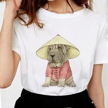 Новые летние забавные женские футболки с изображением собаки шарпей, модные белые футболки с художественным принтом, мягкие хлопковые повседневные белые топы