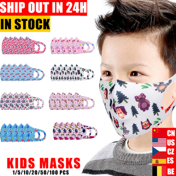 5pcs Cartoon Children PM2.5 Mouth Mask Kids Breath Valve Breathable Mask Mouth-Muffle Respirator Face Masks