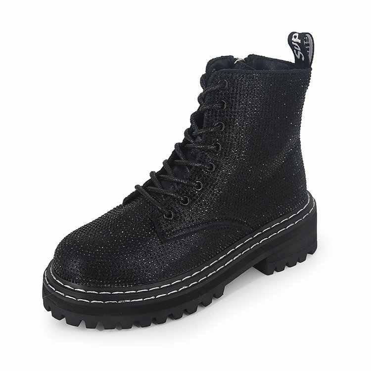 ฤดูหนาวผู้หญิงปั๊มบู๊ทส์มาร์ตินแฟชั่น Rhinestone lace up รอบ Toe รองเท้าส้นสูงกลางรองเท้าส้นสูง snow botas รองเท้าผู้หญิง mujer x963