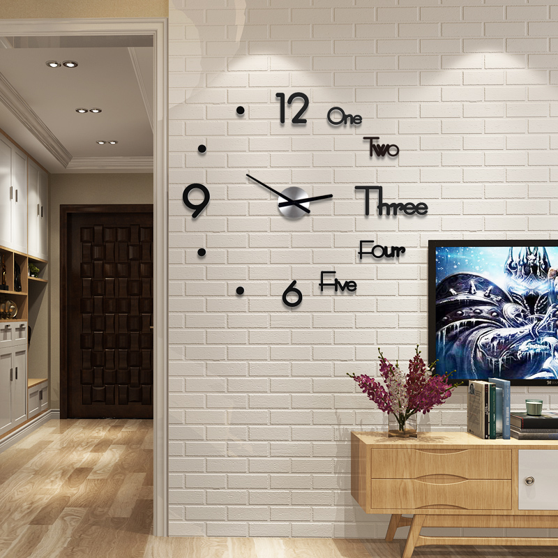 New 3D Living Room Kitchen Watch Clock Acrylic Fashion Creative DIY Wall Clock Modern Design Home Decor Free Punch Free Shining